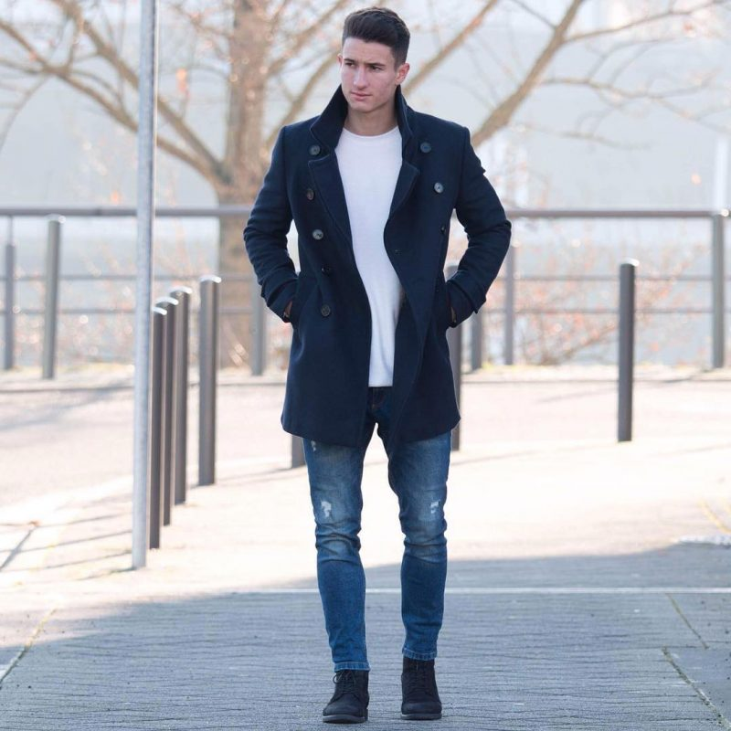 Navy peacoat, white t-shirt, blue jeans 1