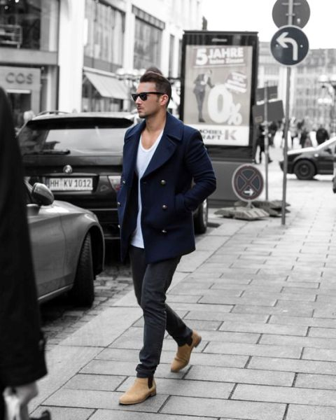 Navy peacoat, white singlet, gray jeans, suede Chelsea boots 1