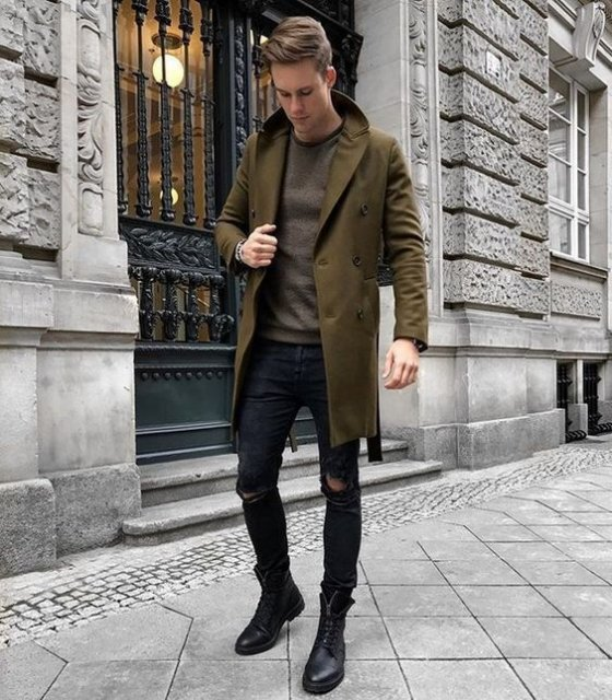 Olive green peacoat, dark brown sweater, black leather boots 1