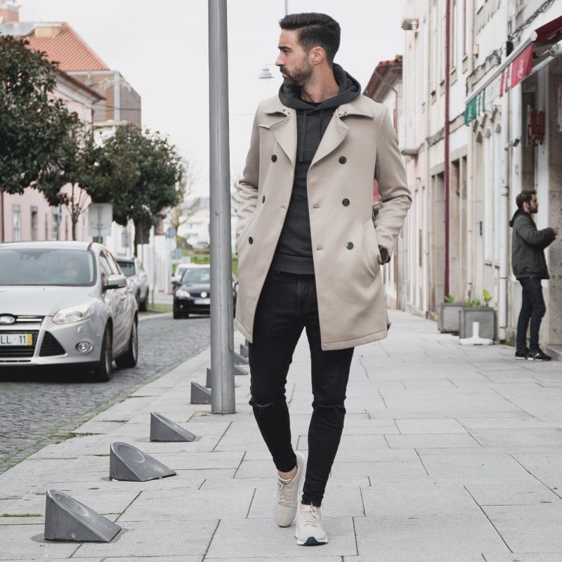 Beige peacoat, hooded jacket, black jeans, sneaker 1