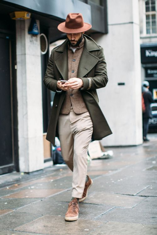 Green peacoat, khaki pants, brow fedora hat 1