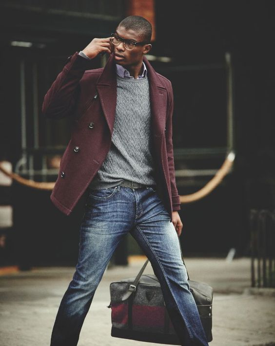 Buegundy peacoat, grey sweater, blue jeans 1