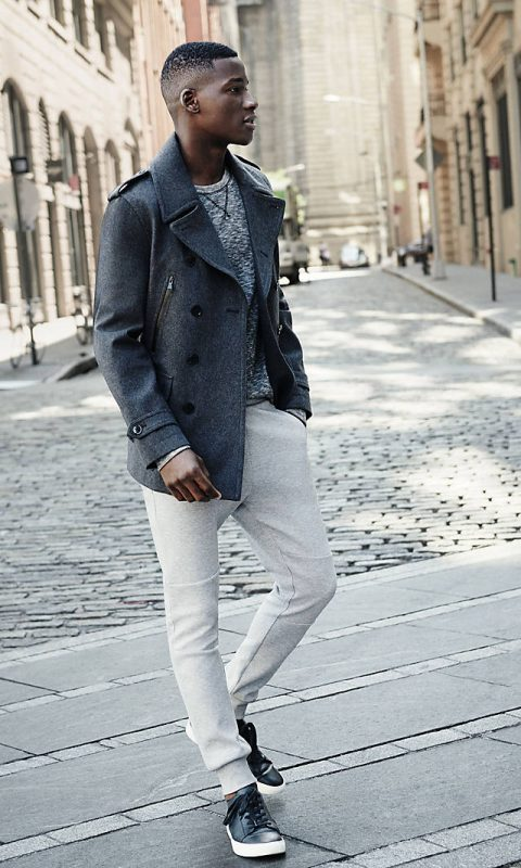 Grey wool peacoat, printed t-shirt, white jogger pants, sneaker 1