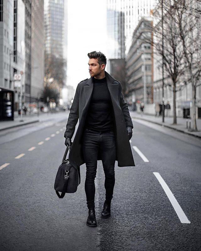 Dark grey peacoat, black t-shirt, leather gloves, jeans, boots 1
