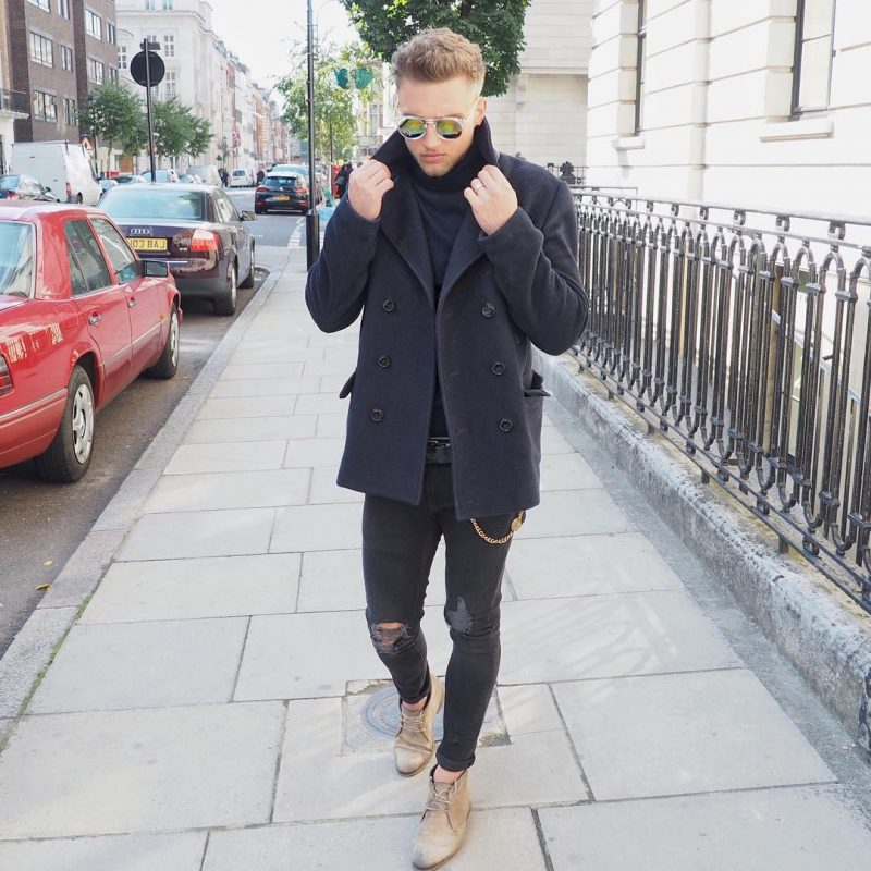 Black peacoat, black jumper, ripped jeans, dessert boots 1