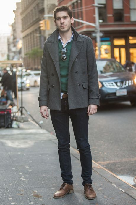 Gray peacoat, green sweater, shirt, blue jeans, leather shoes 1