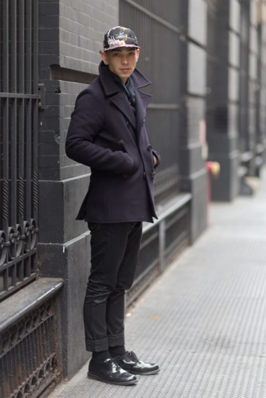 Navy peacoat, snapback, black jeans, leather shoes 1