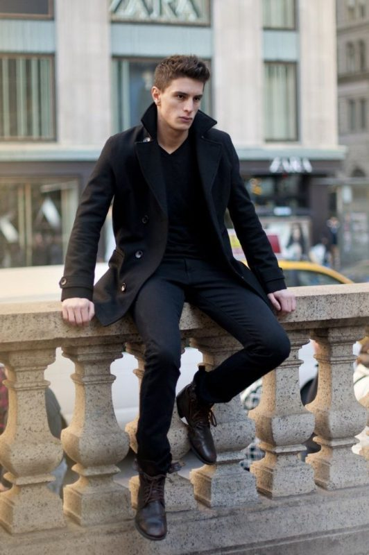 Black peacoat, black t-shirt, suit pants, leather dress shoes 1