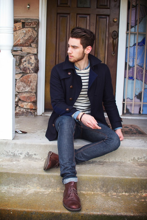 Navy peacoat, blue shirt, sweater, blue jeans, maroon boots 1