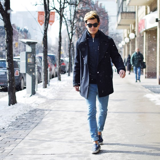 Navy peacoat, blue puffer, blue jeans, slip on shoes 1
