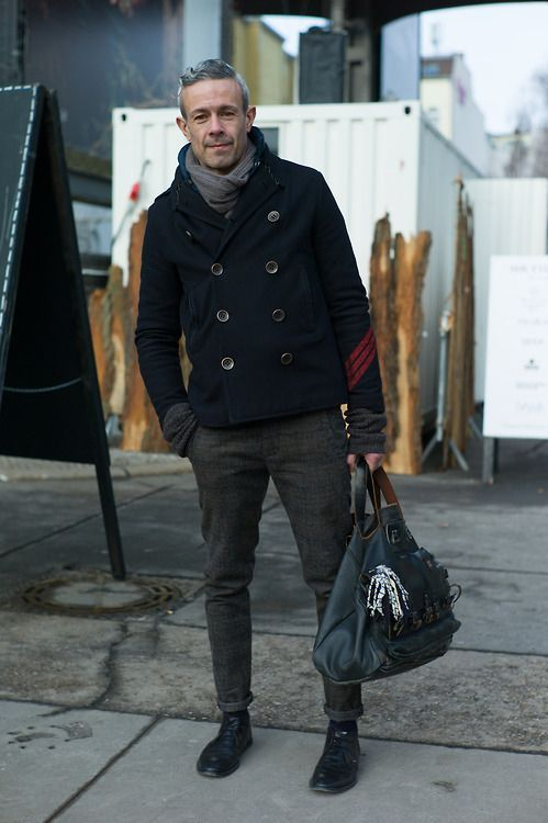 Black peacoat, grey jeans, scarf, leather boots 1