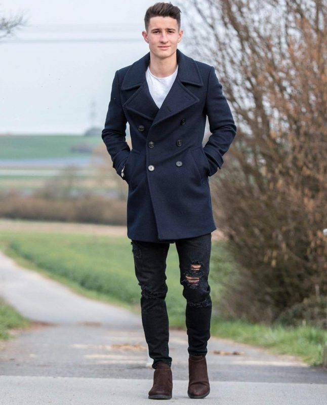 Navy peacoat, white t-shirt, black ripped jeans, suede boots 1