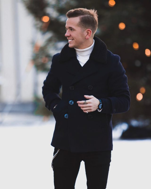 Navy peacoat, white turtleneck sweater, black jeans 1