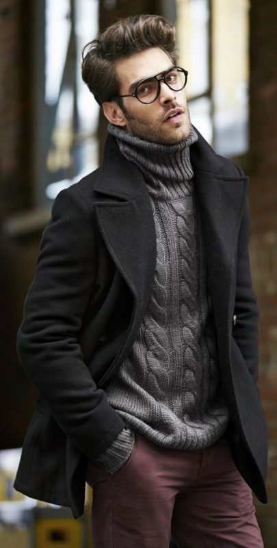 Black peacoat, grey turtleneck sweater, maroon trousers 1