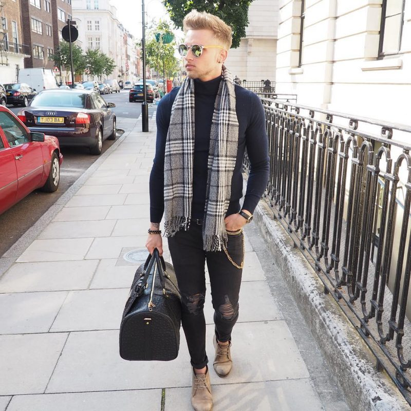 Turtleneck long sleeve t-shirt, black jeans, scarf, chukka boots 1