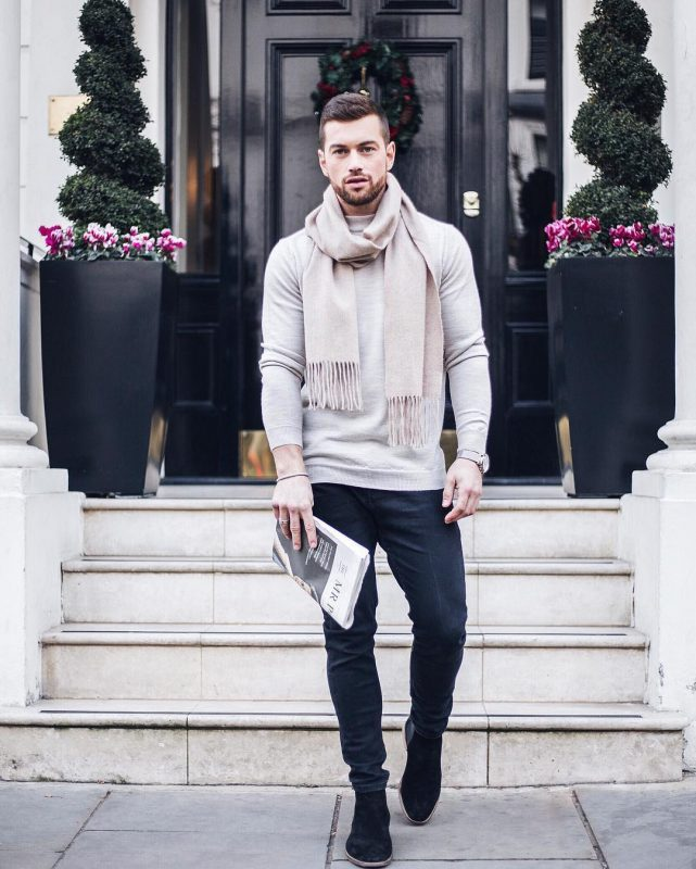 Long sleeve gray t-shirt, blue jeans, beige scarf, Chelsea boots 1