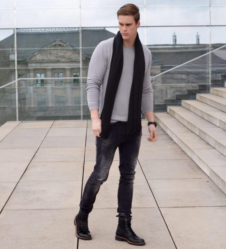 Black scarf, gray long sleeve t-shirt, black jeans, leather boots 1