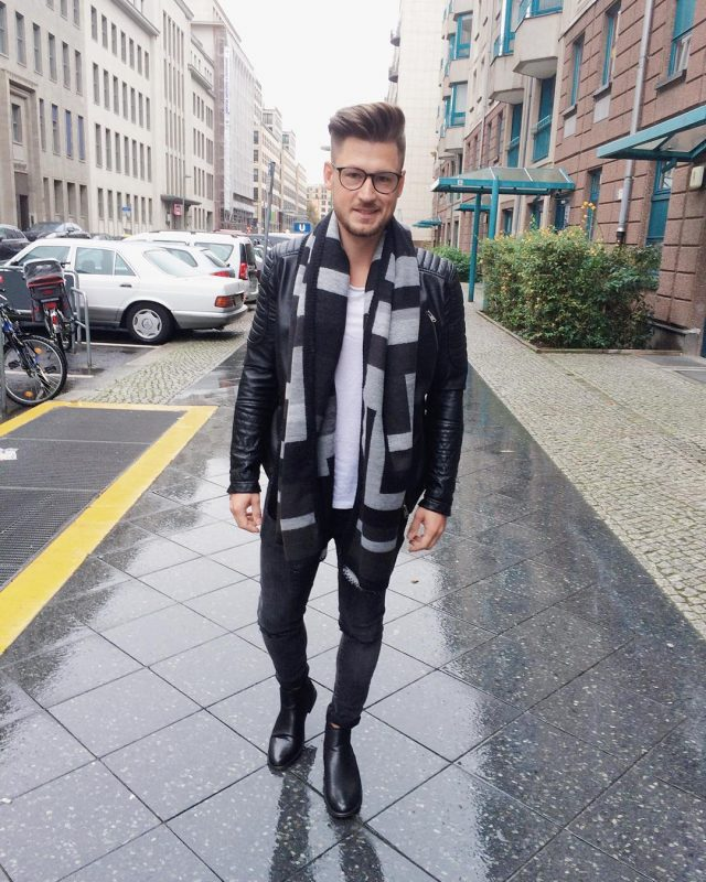 Print scarf, leather jacket, singlet, black jeans, leather boots 1