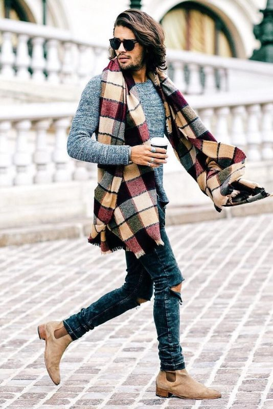 Extra long print scarf, sweater, blue ripped jeans, Chelsea boots 1
