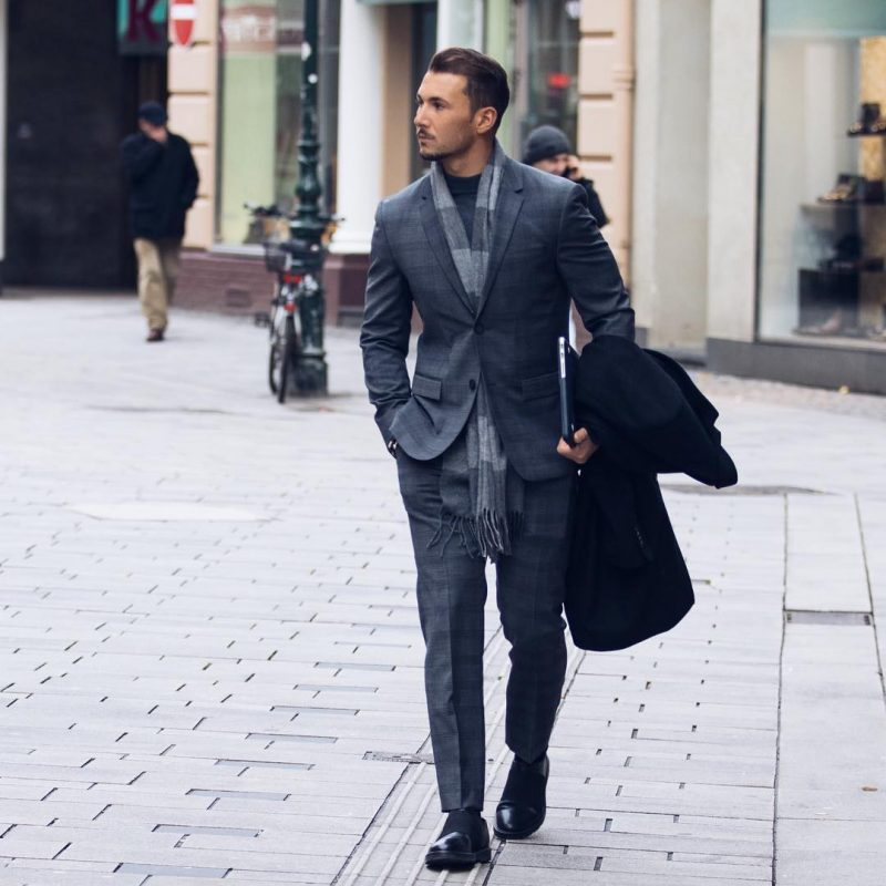 Gray suit, gray scarf, turtleneck long sleeve tee, dress shoes 1