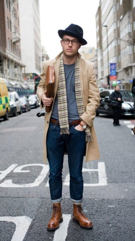 Scarf, gray t-shirt, overcoat, leather belt, jeans, brogue boots 1