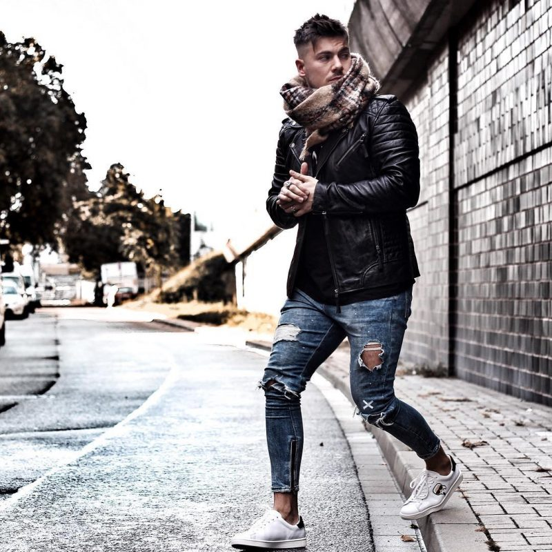 Scarf, black t-shirt, black leather jacket, jeans, white sneaker 1