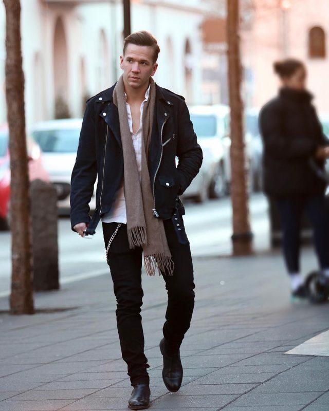 Dark brown scarf, white button down shirt, black jacket 1