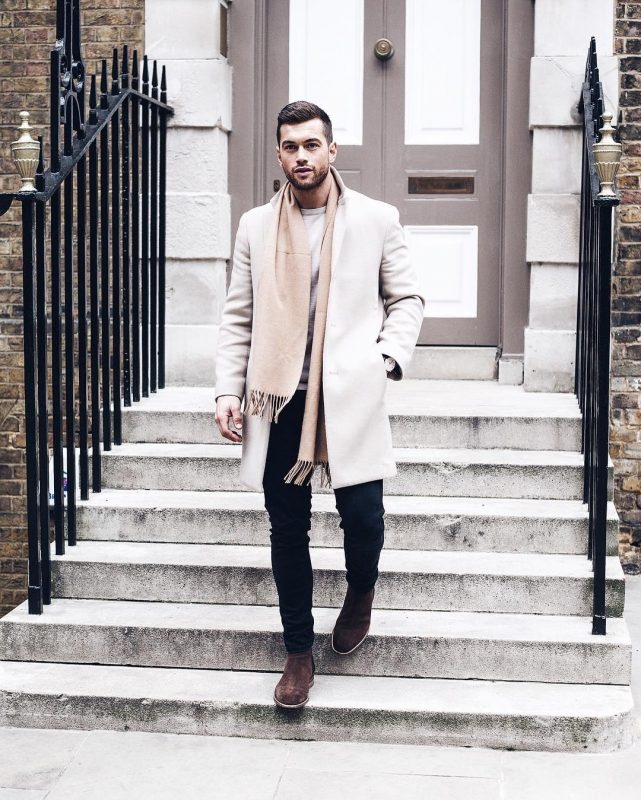 Tan scarf, white t-shirt, overcoat, jeans, suede Chelsea boots 1