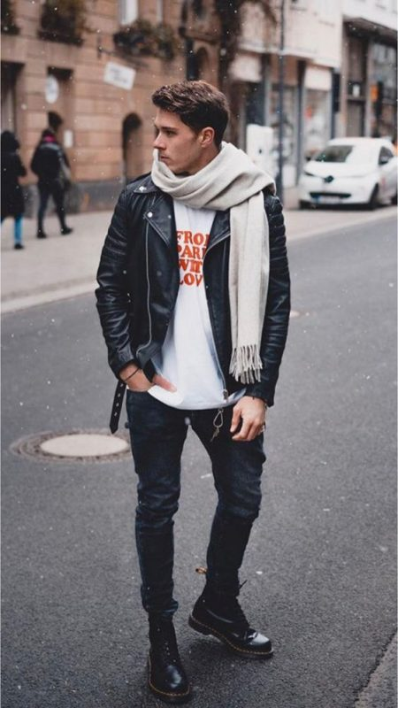 Scarf, leather biker jacket, white print tee, jeans, boots 1
