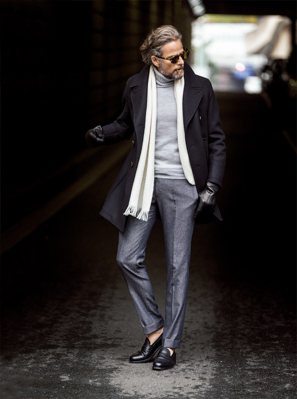 White scarf, sweater, peacoat, wool pants, loafers, leather gloves 1