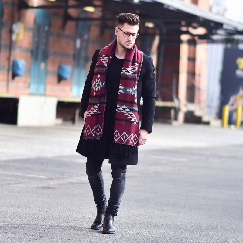 Black t-shirt, overcoat, jeans, leather boots, red print scarf 1
