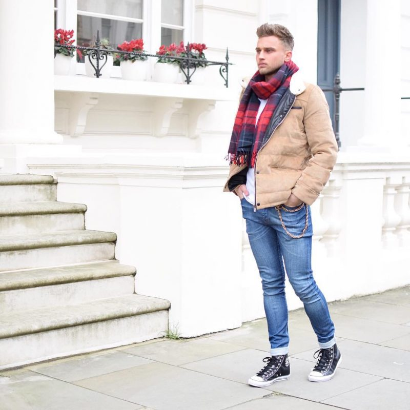 Red print scarf, white t-shirt, down jacket, blue jeans, canvas shoes 1