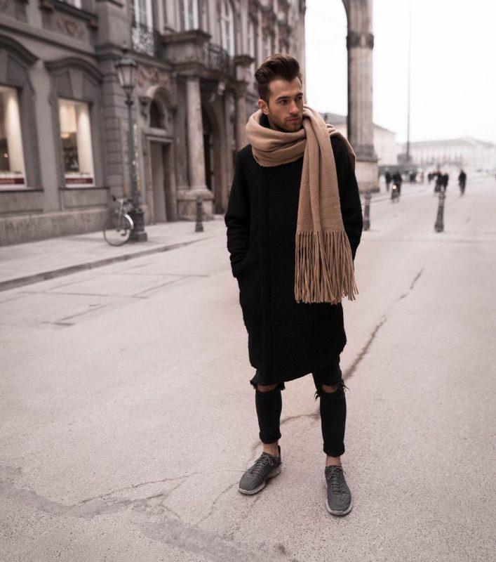 Black cloak coat, brown scarf, black ripped jeans, sneaker 1