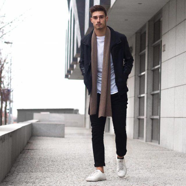 Brown scarf, black jacket, white t-shirt, sneaker, chinos 1