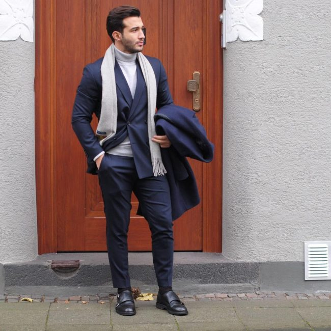Blue suit, turtleneck white tee, scarf, double monk straps shoes 1