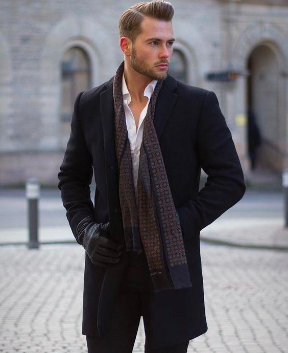 Black overcoat, white shirt, print scarf, black leather gloves 1