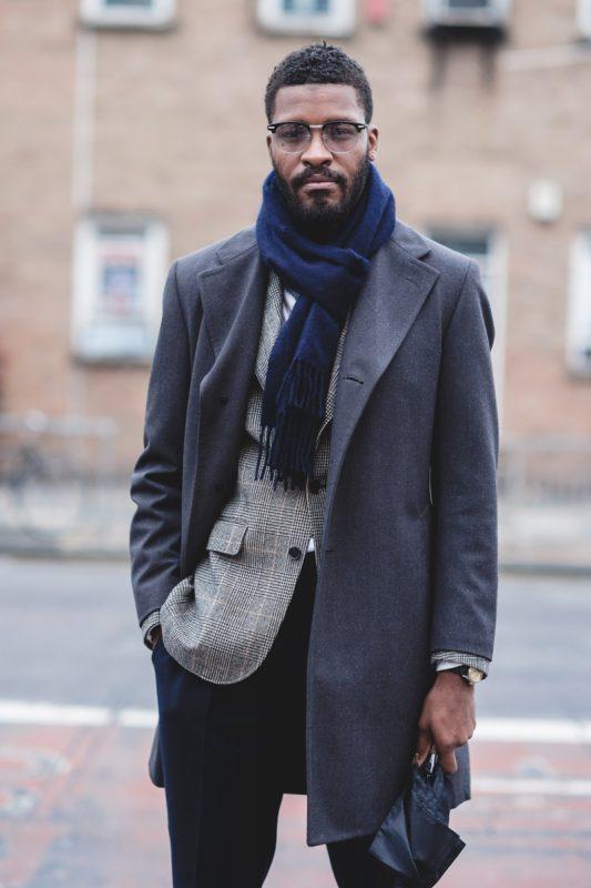 Blue scarf, gray overcoat, blazer, suit pants 1