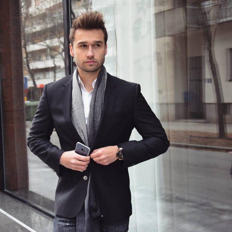Black suit jacket, scarf, white shirt, jeans 1