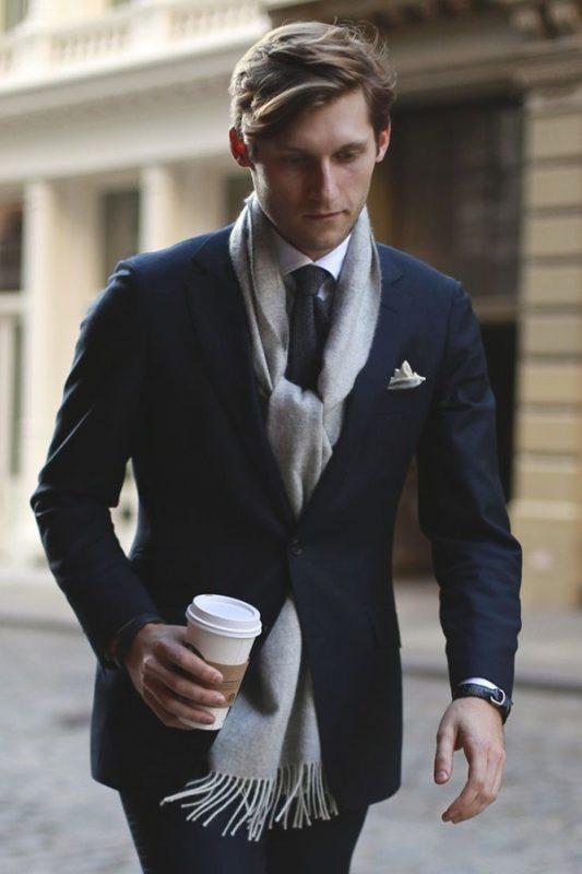 Gray scarf, dark blue suit, white shirt, tie 1