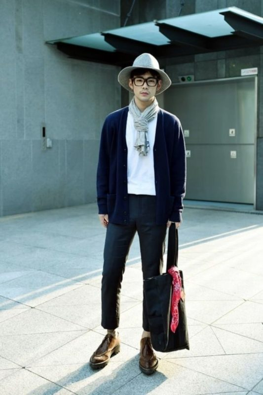 Navy cardigan, white t-shirt, grey scarf, hat, black suit pants 1