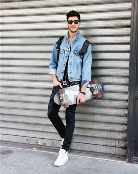 Denim jacket, black singlet, jeans, white sneaker, shades 1