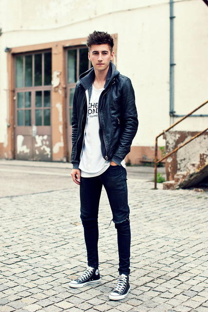 Leather jacket, hoodies, white singlet, jeans, converse shoes 1