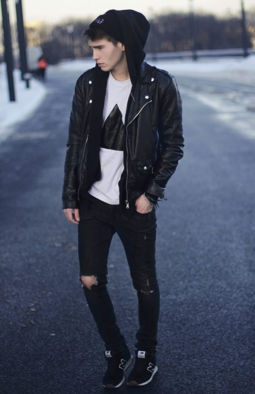 Leather biker jacket, hoodies, white t-shirt, beanie hat, black jeans 1