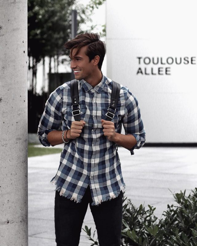 Blue checked button up shirt, backpack, black jeans 1