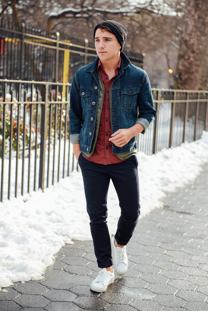 Denim jacket, red shirt, beanie hat, black khaki pants, white sneaker 1