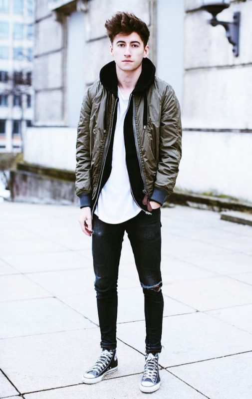 Olive green bomber jacket, hoodies, white t-shirt, converse shoes 1