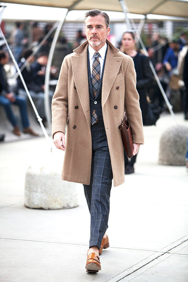 Camel overcoat, checked office suit, double monk straps shoes 1