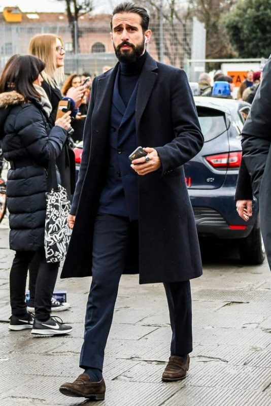 Black overcoat, dark blue suit, turtleneck sweater 1