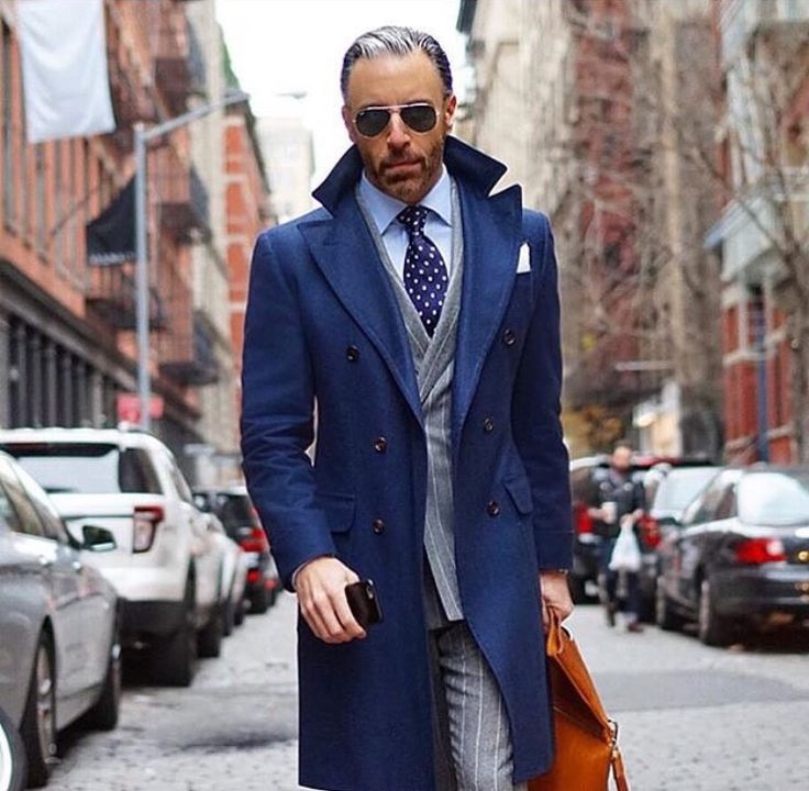Blue overcoat, checked grey office suit, dotted tie, shades 1