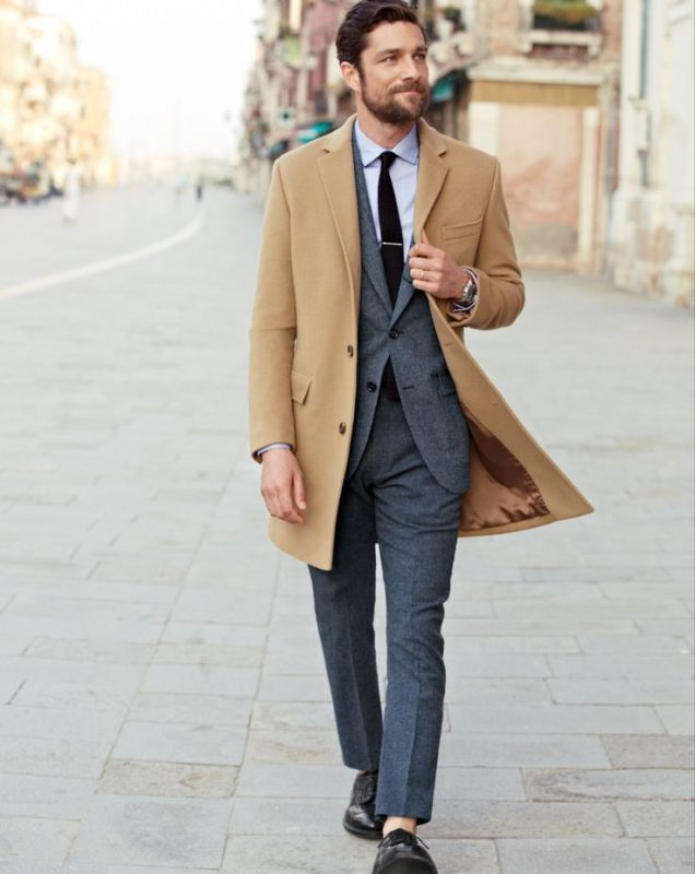 Camel overcoat, grey wool suit, leather dress shoes 1
